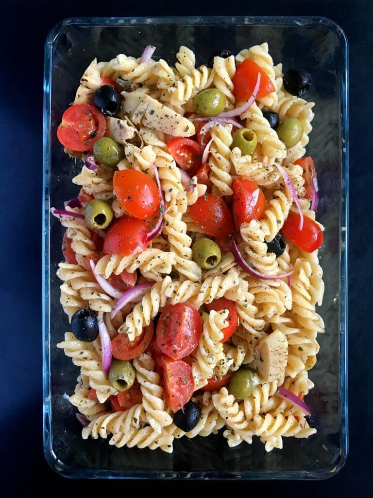 "Vegan ""Cheesy"" Italian Pasta Salad 