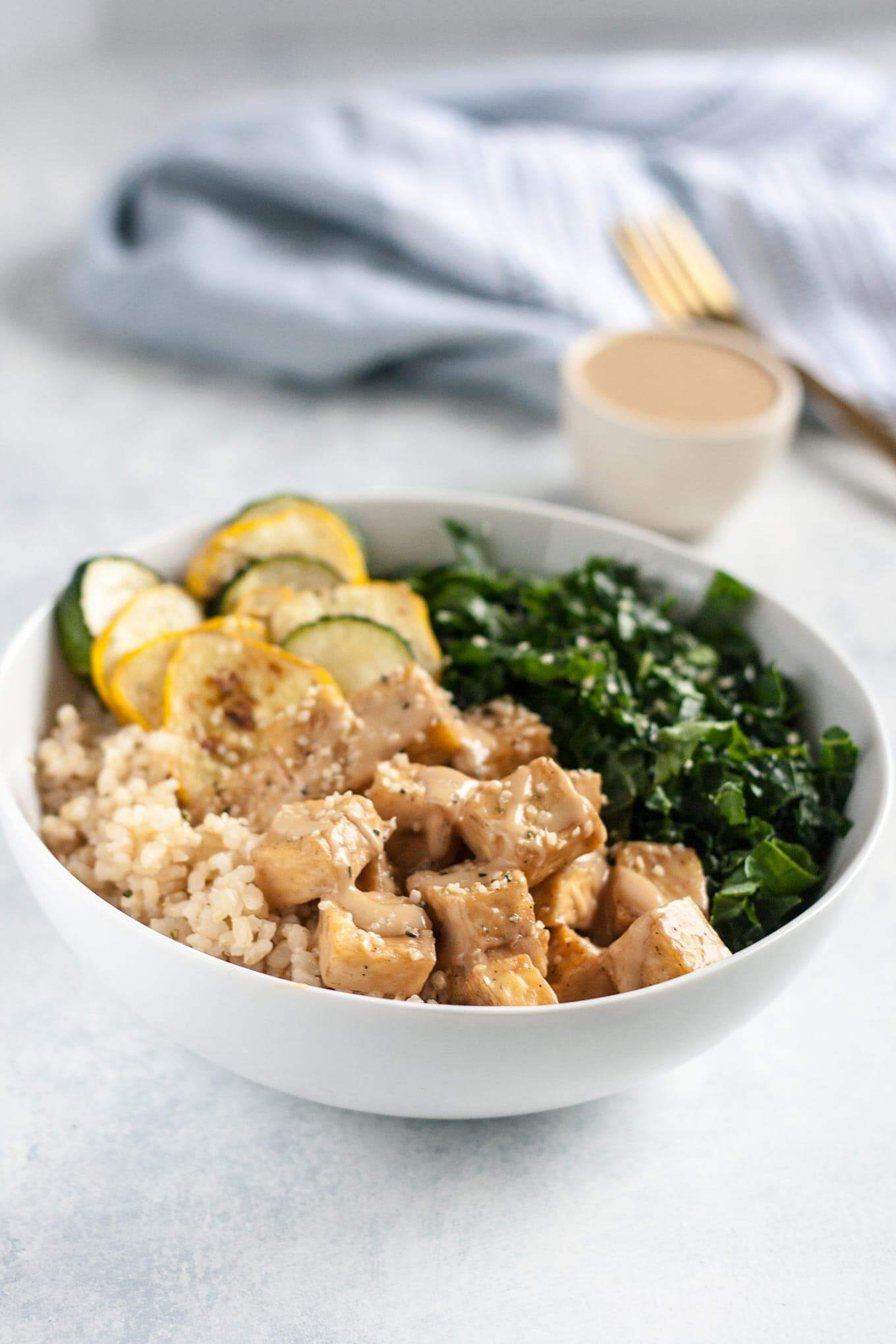 Vegan Almond Butter Tofu Bowl with Summer Squash