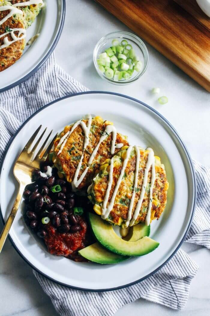 Vegan Zucchini Corn Fritters | #vegan