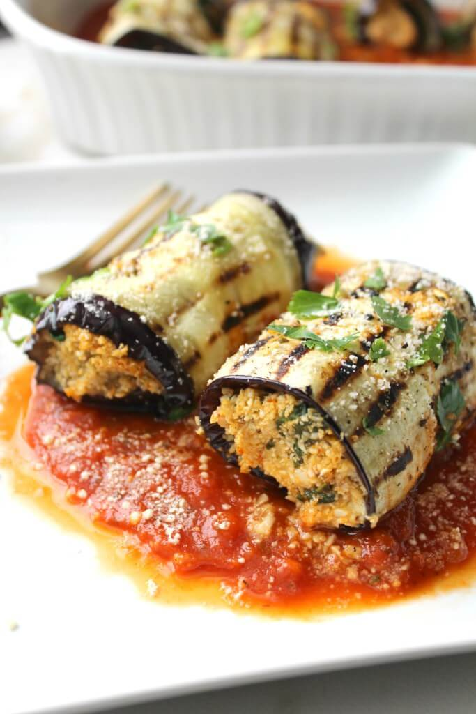 Vegan Eggplant Roll Ups | #vegan