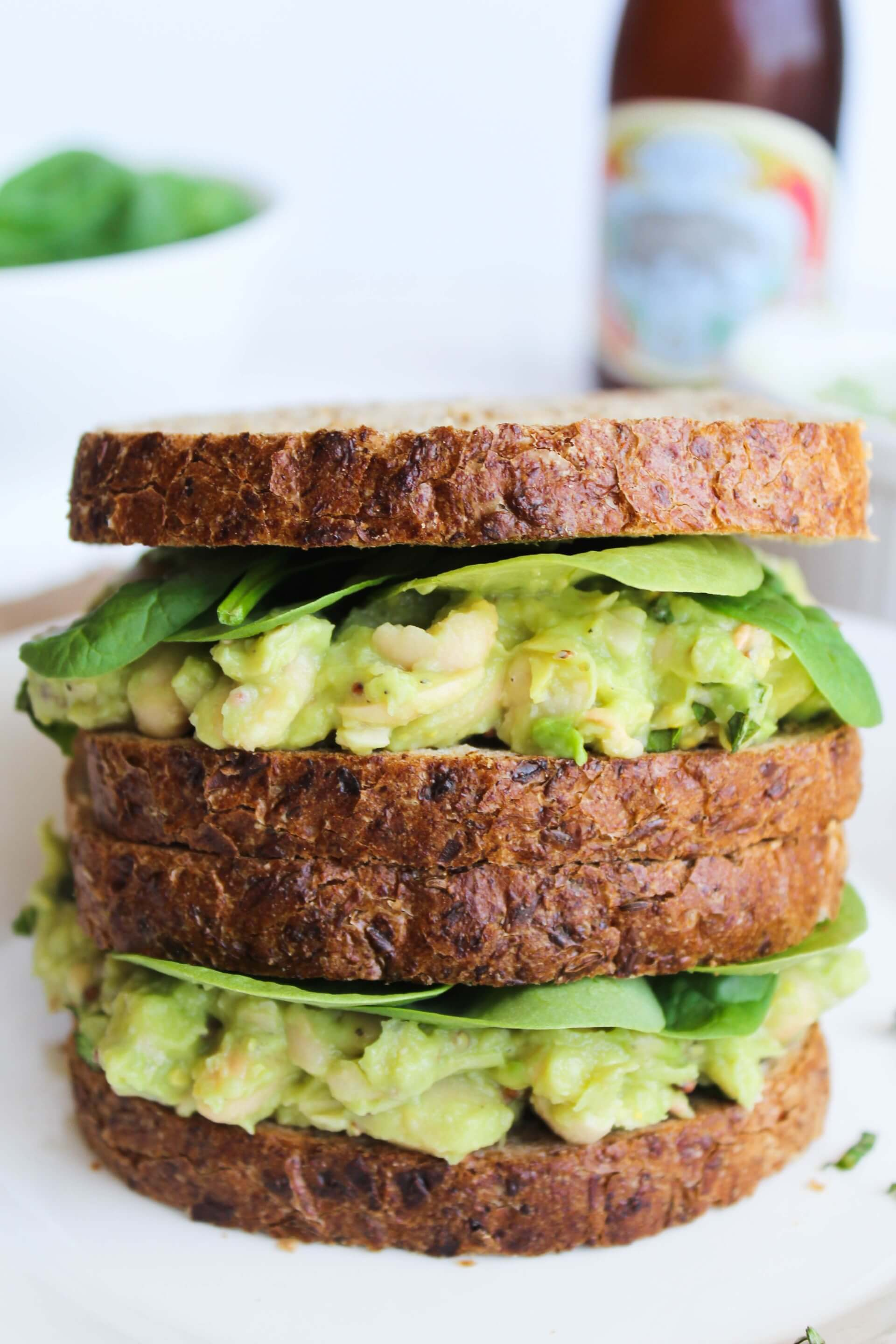 Vegan White Bean, Basil, & Avocado Sandwich