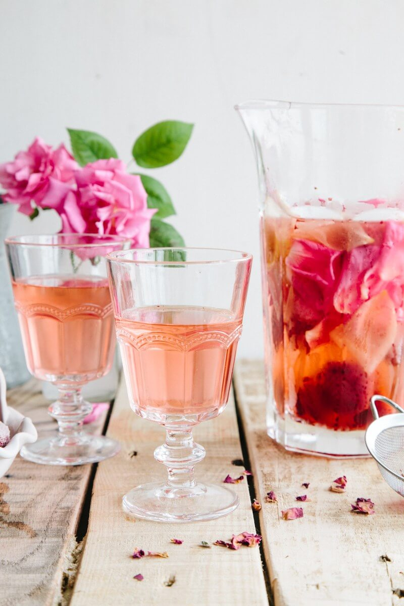 Vegan Rose, Lemon and Strawberry Infused Water