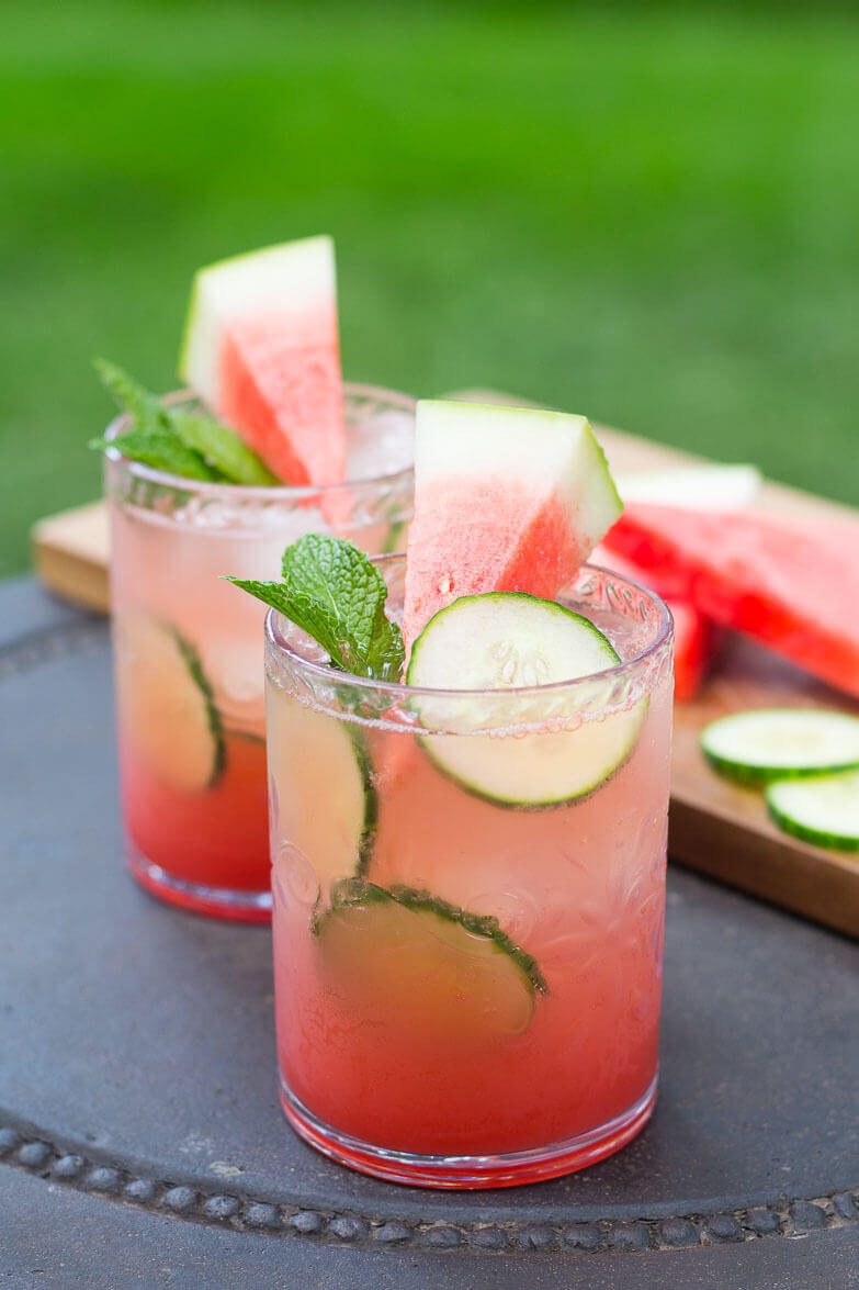 Vegan Watermelon & Cucumber Mojitos