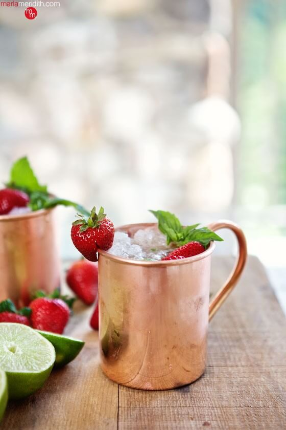 Vegan Strawberry Basil Moscow Mule Cocktail