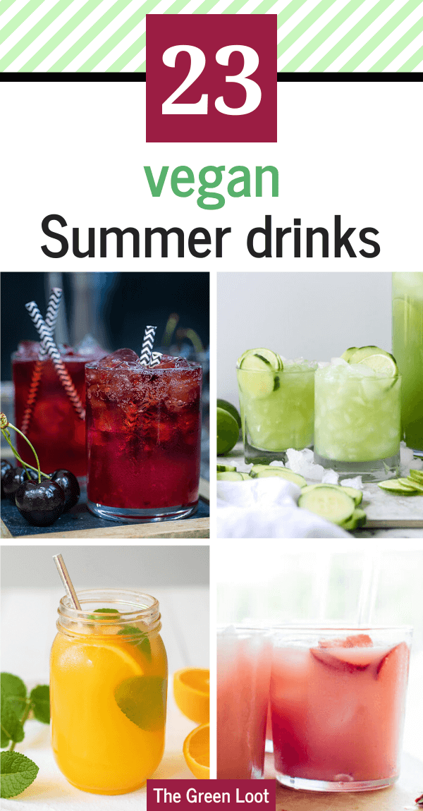 These Easy Vegan Summer Drink Recipes will make sure to cool you down even on the hottest July days, with lots of fruit, ice cubes and sometimes booze. | The Green Loot #vegan #veganrecipes