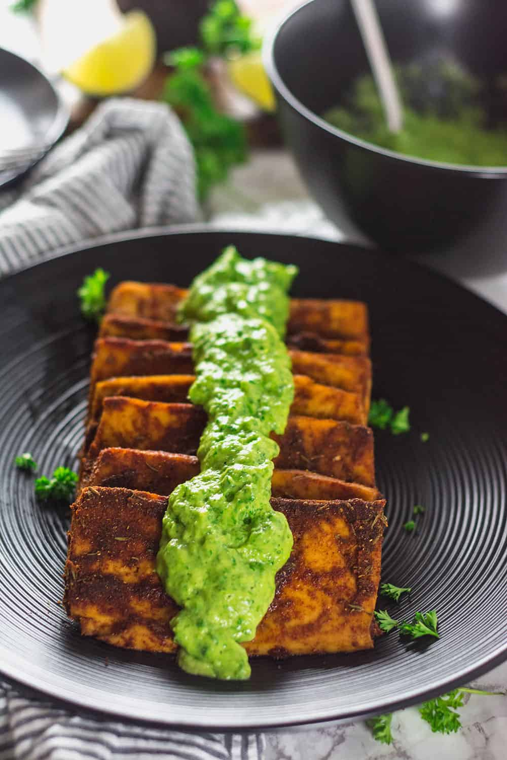 Vegan Tofu Steaks With Avocado Chimichurri