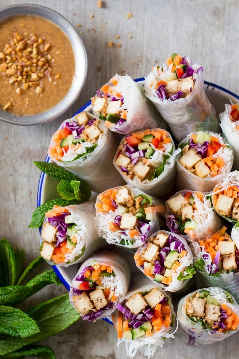 Vegan Peanut Tofu Rice Paper Rolls