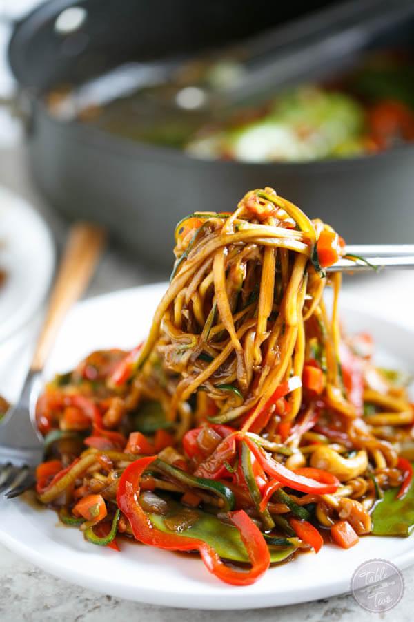 Vegan Zucchini Noodle Cashew Stir Fry