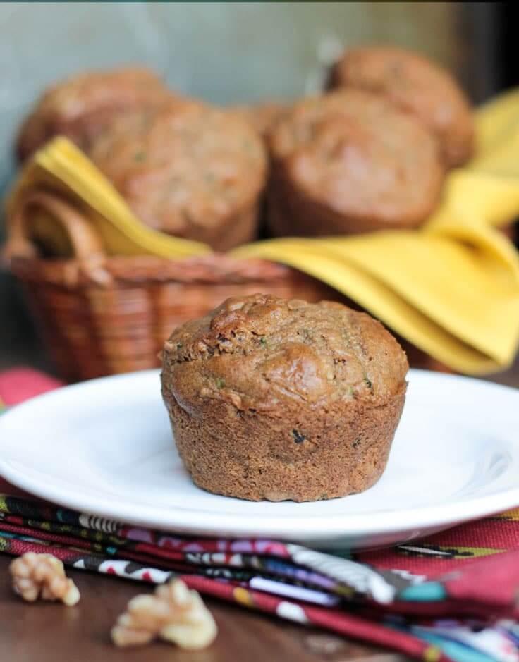 Vegan Flax & Walnut Zucchini Muffins