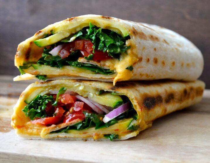 Vegan Grilled Zucchini Hummus Wrap | #vegan