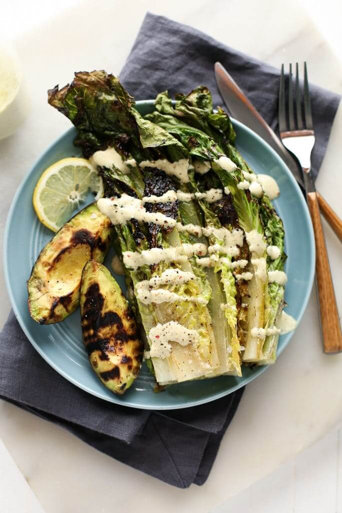 Vegan Grilled Caesar Salad with Avocado