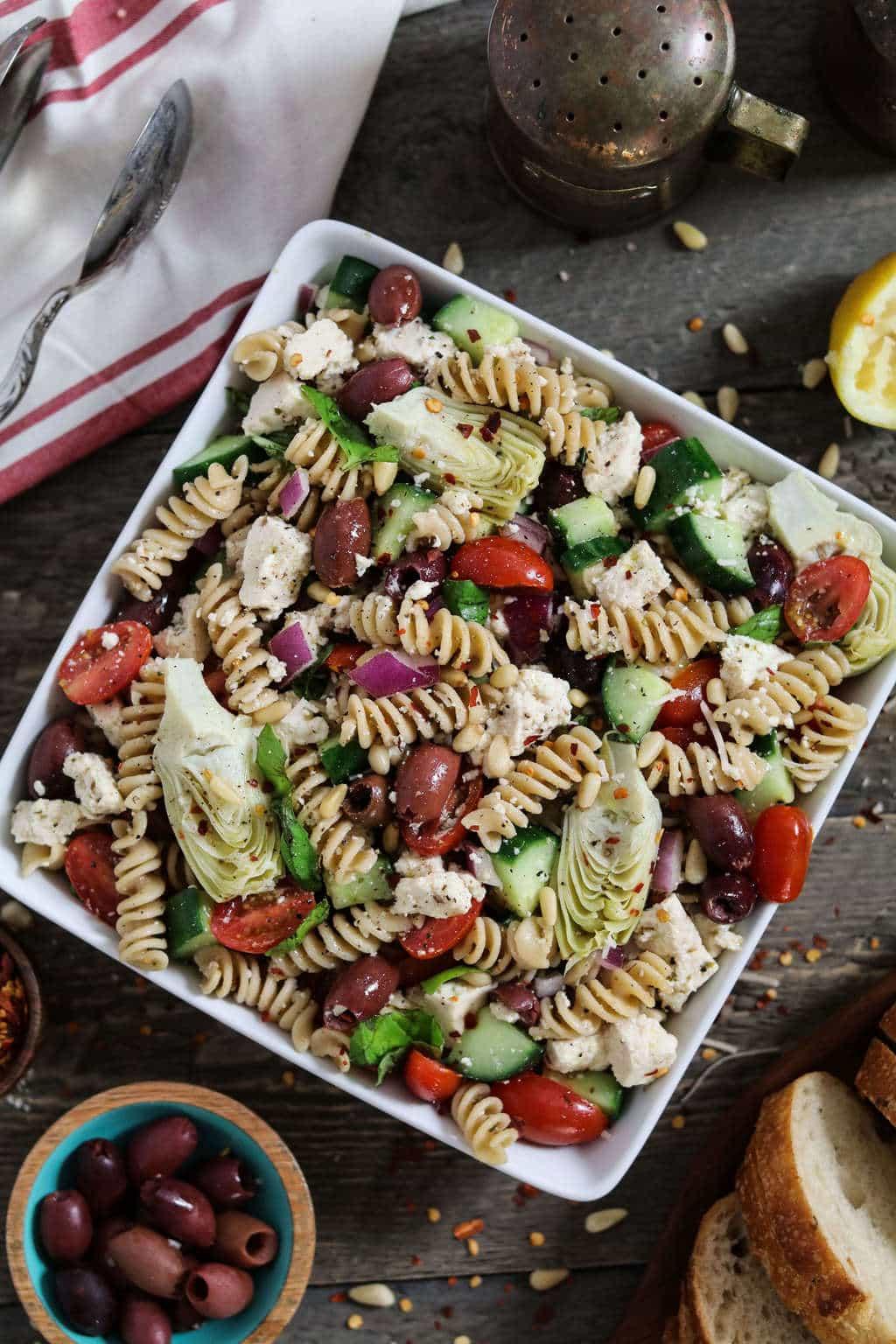 Vegan Mediterranean Pasta Salad | #vegan