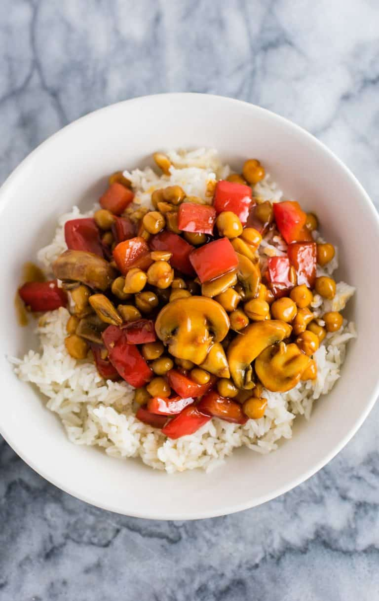Vegan 30 minute Chickpea Stir Fry with Bell Peppers