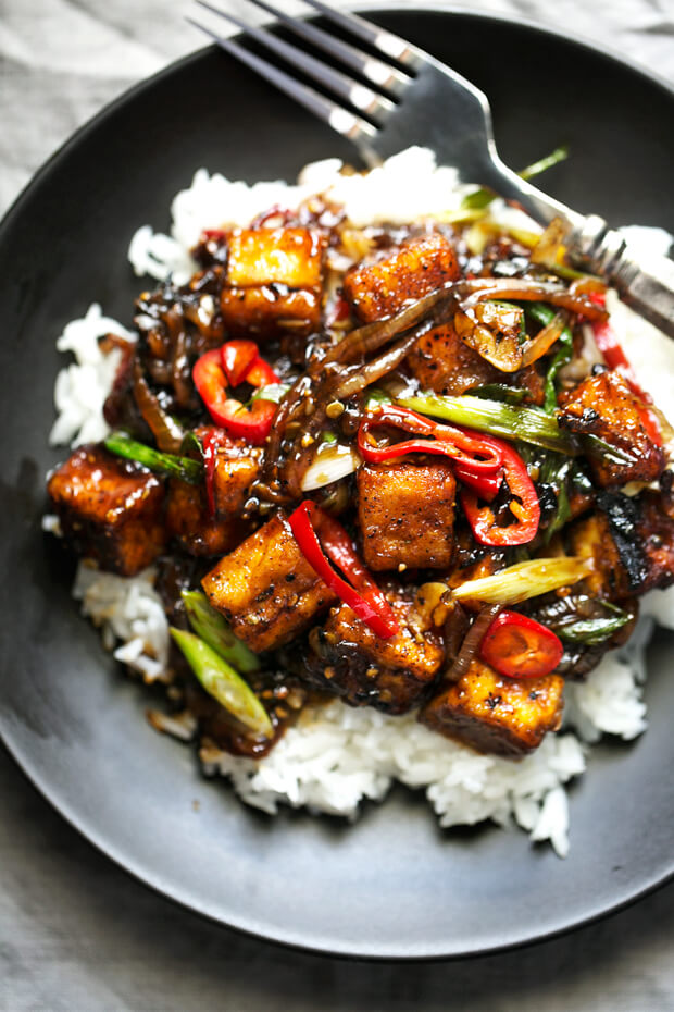 Vegan Crispy Black Pepper Tofu Stir Fry