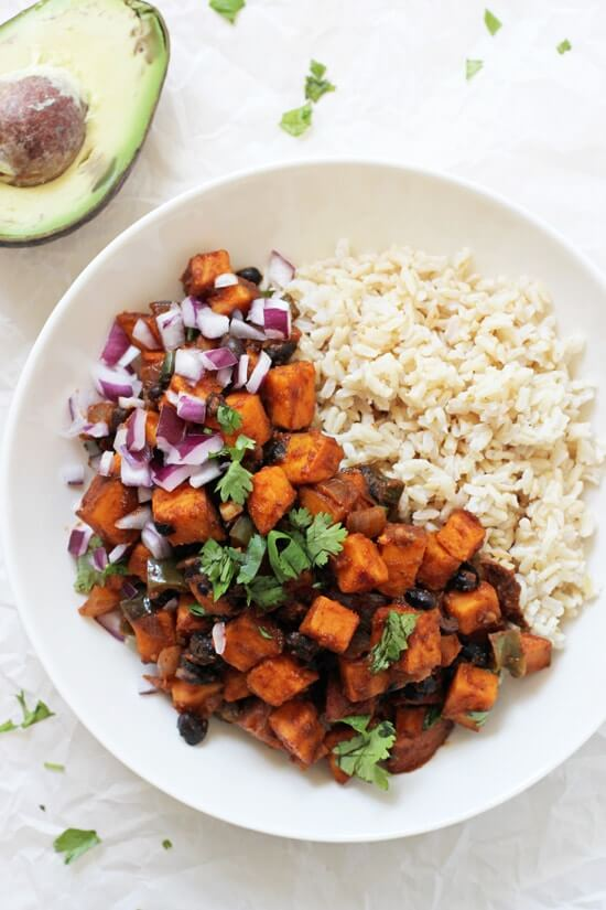 Vegan Sweet Potato & Black Bean Enchilada Stir-fry