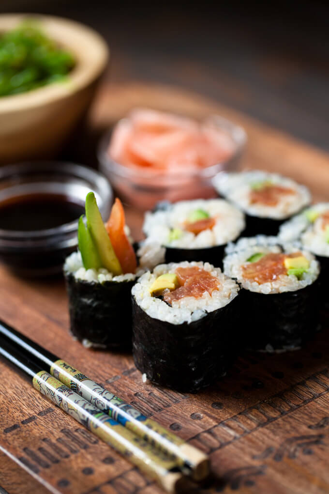 "Vegan Sushi with Spicy Tomato ""Tuna"" 