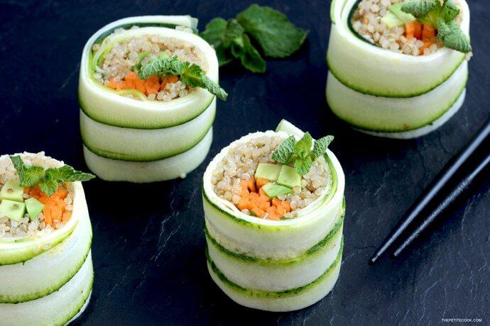 Vegan Zucchini Quinoa Sushi Rolls | #vegan #sushi