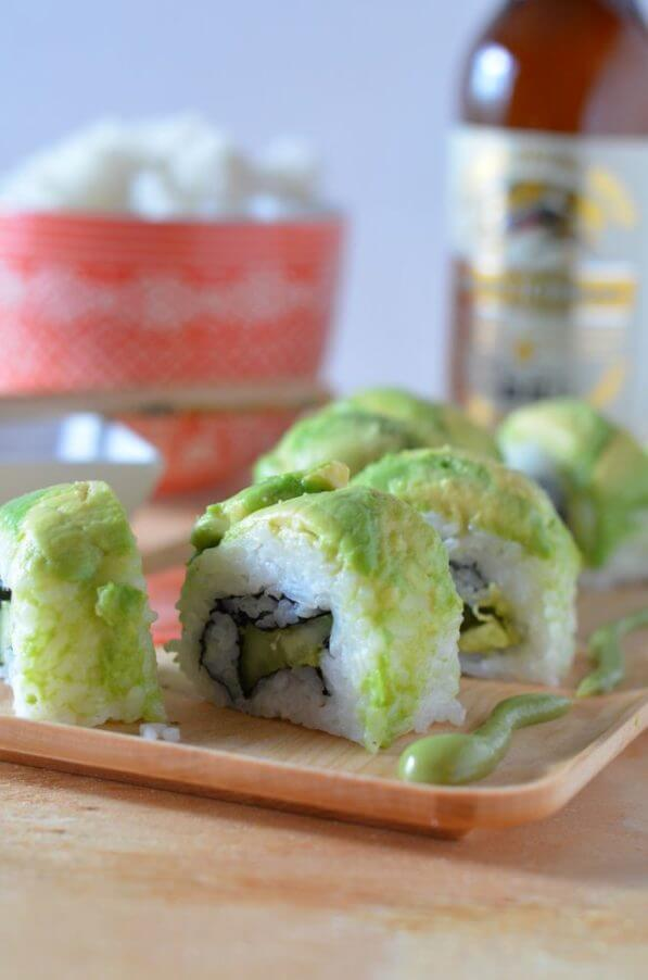 Vegan Spicy Dragon Roll | #vegan #sushi