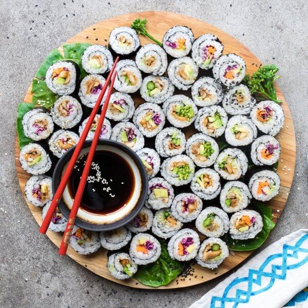 Vegan Mushroom Avocado Sushi Rolls