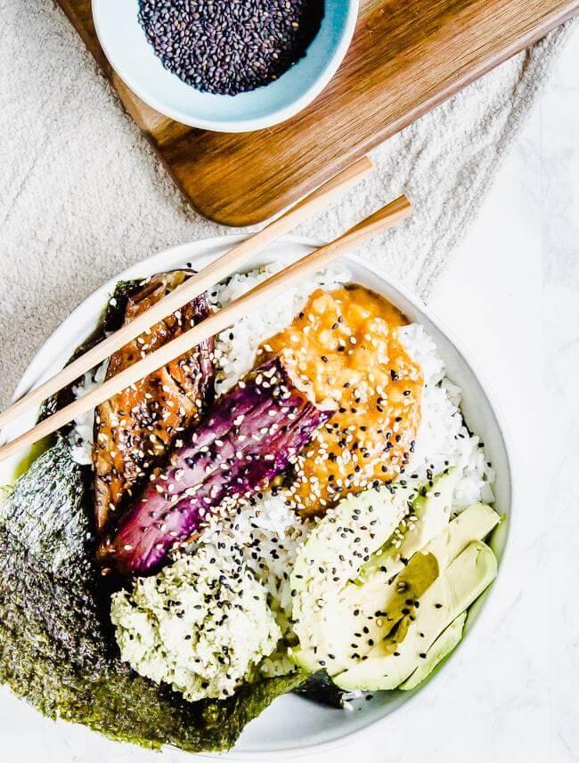 Vegan Miso Eggplant Sushi Bowls | #vegan #sushi