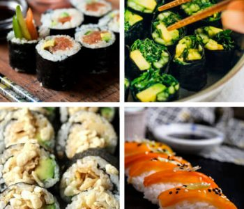 Have you been craving seafood? These Vegan Sushi Recipes are healthy, easy and are made entirely from plants! Filled with simple vegetables, brown rice, tofu...etc. Browse these homemade dinner ideas! | The Green Loot #vegan #sushi
