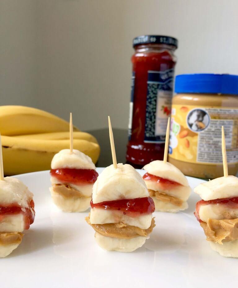 Vegan Peanut Butter Jam Banana Bites | #vegan