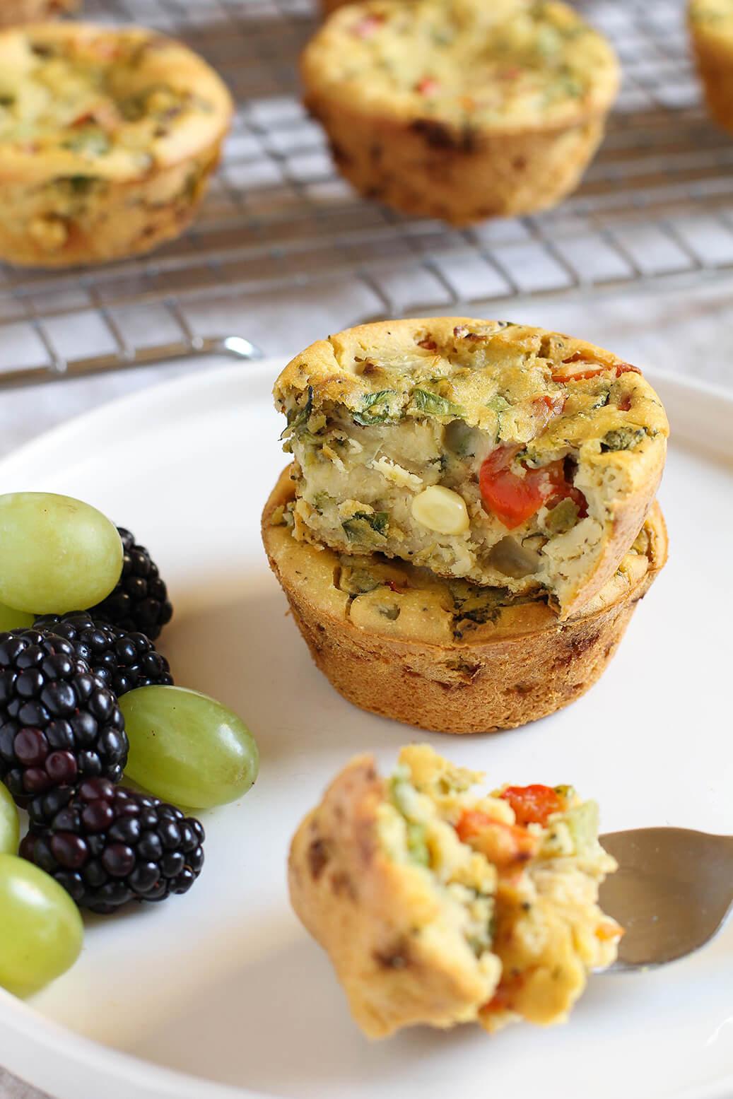 Vegan Chickpea Flour Mini Veggie Frittatas | #vegan
