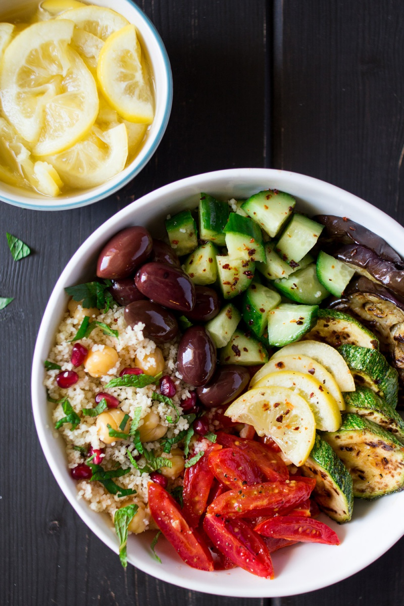 Vegan Moroccan Salad Bowl with Eggplant