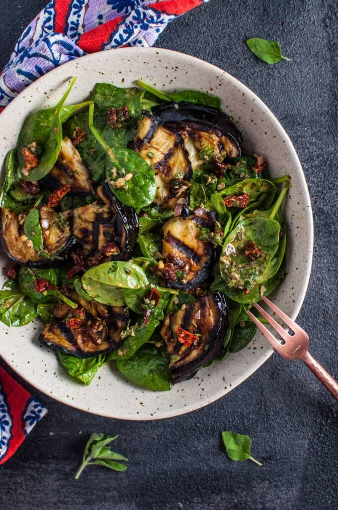 Vegan Spinach Salad with Smoky Grilled Eggplant