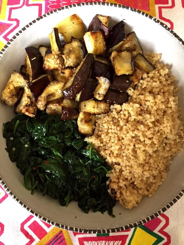 Vegan Eggplant Spinach Quinoa Bowl | #vegan