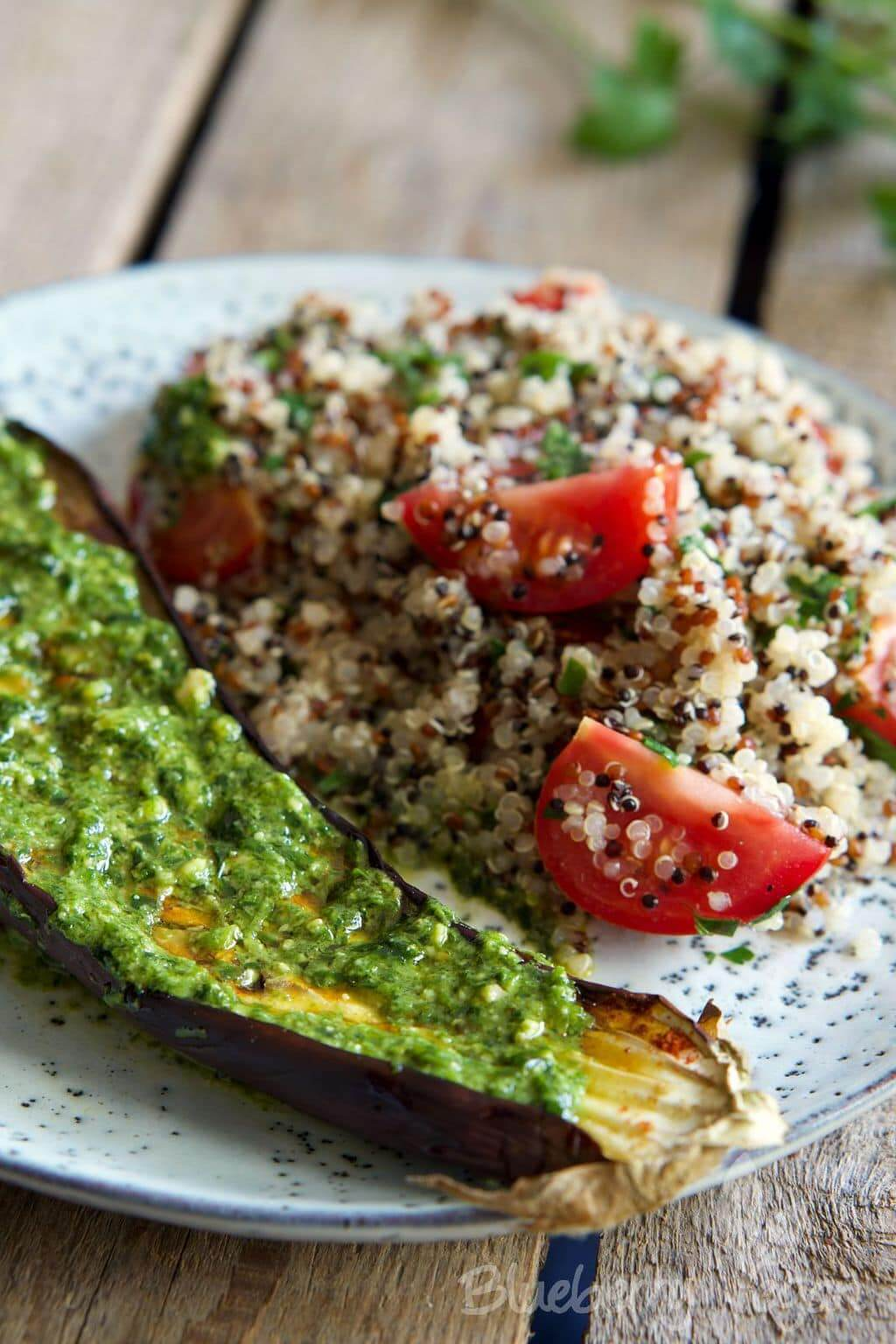 Vegan Baked Eggplant with Warm Quinoa Tabbouleh