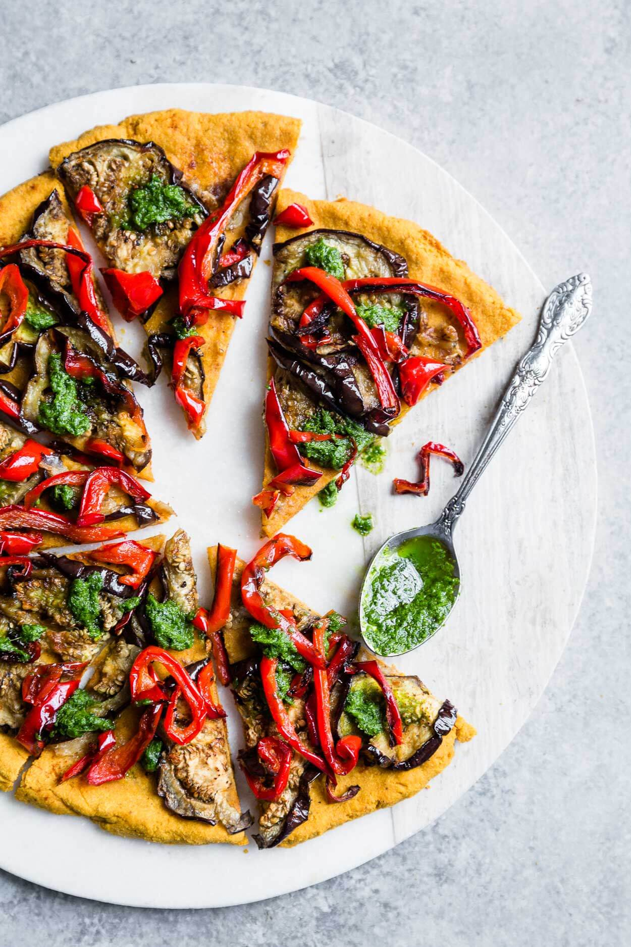 Vegan Sweet Potato Pizza with Roasted Eggplants