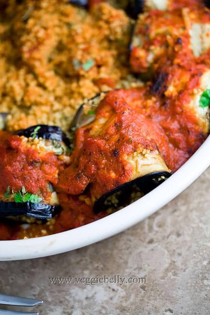 Vegan Eggplant Rollatini Stuffed with Couscous