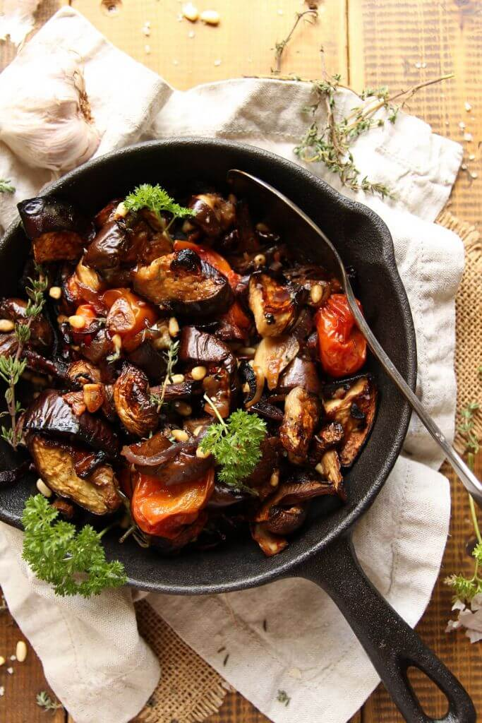 Vegan Roasted Eggplant Mushroom Salad | #vegan