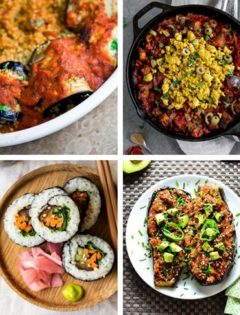 A roundup of easy Vegan Eggplant Recipes (or aubergine), that are clean eating and gluten-free, so you can enjoy them without guilt! A perfect summer dish, like stuffed eggplant or curry is always a good choice if you want something flavorful and slimming during those hot evening. | The Green Loot #vegan