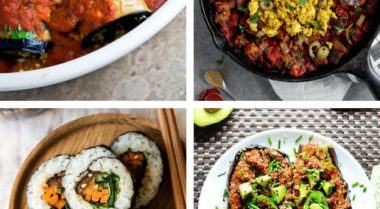 A roundup of easy Vegan Eggplant Recipes (or aubergine), that are clean eating and gluten-free, so you can enjoy them without guilt! | The Green Loot #vegan #veganrecipes #Summer #aubergine #eggplant