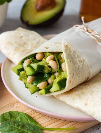 Avocado White Bean Wrap - made with spinach and cucumber. A super green, filling, protein-rich wrap that makes a perfect lunch to take with you. You can make it part of your weight loss diet as well.   The Green Loot #vegan #veganrecipes #dairyfree #healthyeating
