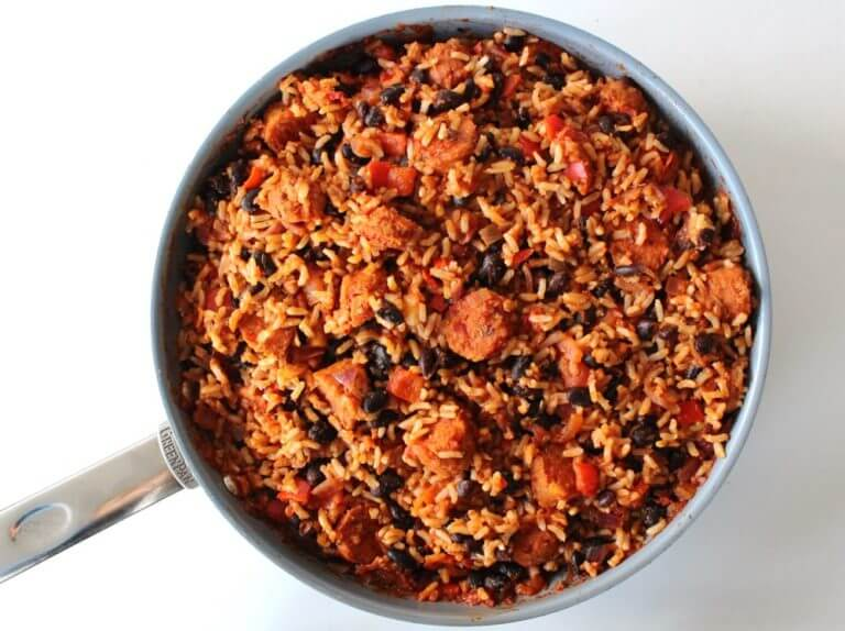 Vegan Mexican Black Bean Rice with Spicy Sausage