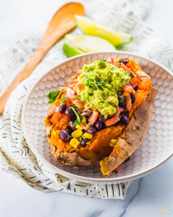 Vegan Black Bean Taco Stuffed Sweet Potatoes