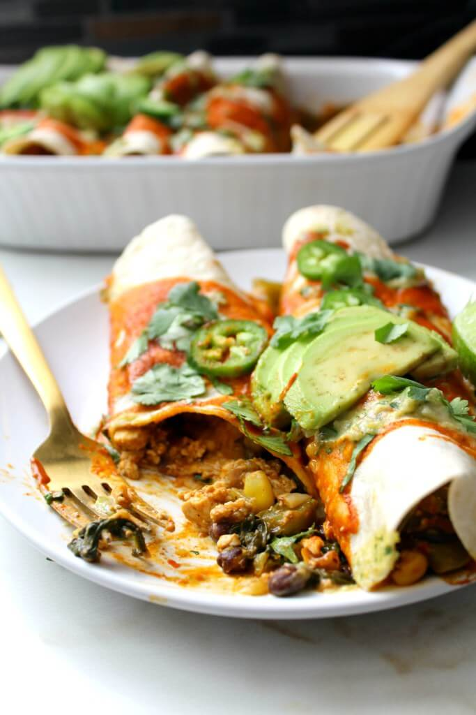 Vegan Black Bean Tofu Scramble Enchiladas