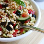 Vegan Israeli Couscous Salad - a healthy Summer side dish, that's fresh and tasty! You can serve it warm or cold, it will be delicious either way. | The Green Loot #vegan
