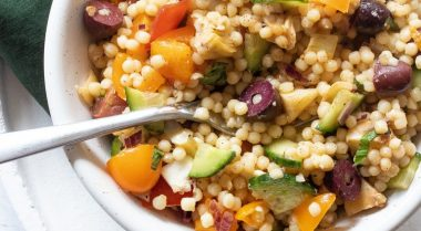 This Vegan Israeli Couscous Salad is a healthy Summer side dish, that's fresh and soo tasty! You can serve it warm or cold. | The Green Loot #vegan #veganrecipes #Summer #BBQ