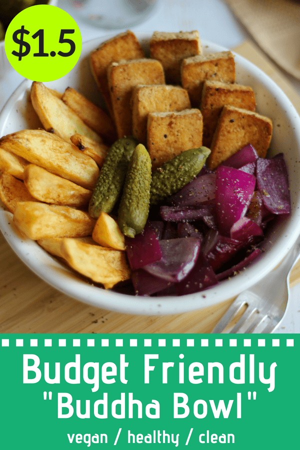 "This Budget Friendly ""Buddha Bowl"" is a super cheap, but healthy and plant-based, vegan meal that's full of flavors! Forget boring rice and beans, potatoes and tofu are so much better. ;) 