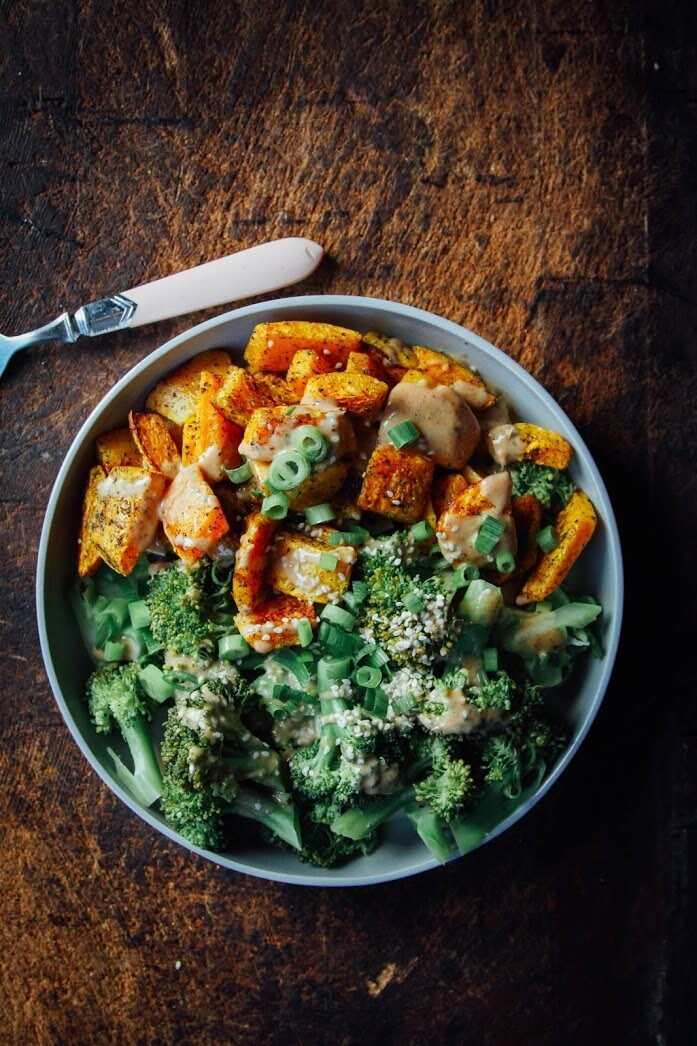 Creamy Butternut Squash, Broccoli + Chipotle Almond Sauce