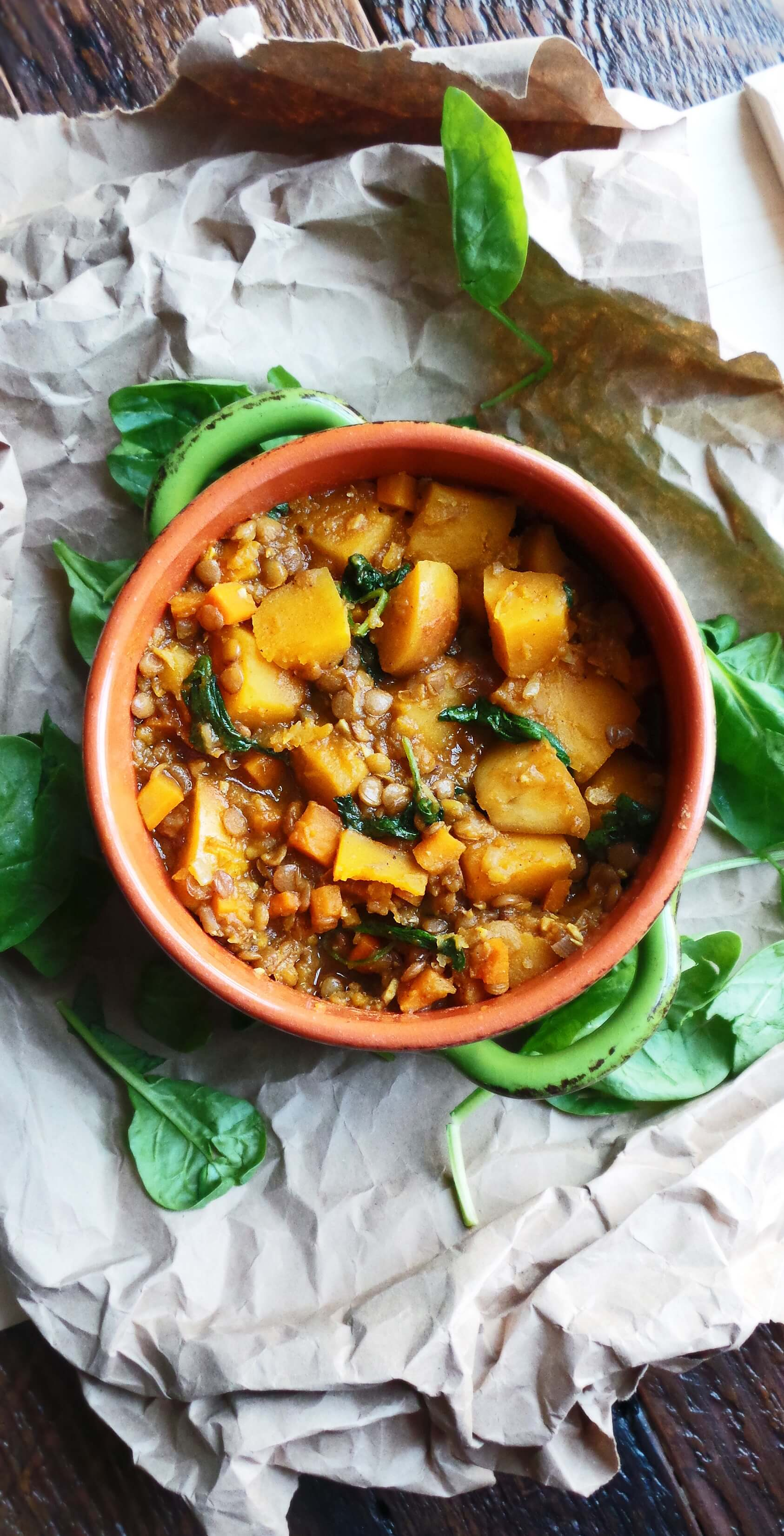 Curried Butternut Squash and Lentil Stew