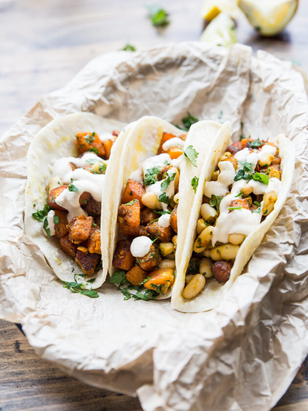Curried Butternut and White Bean Tacos