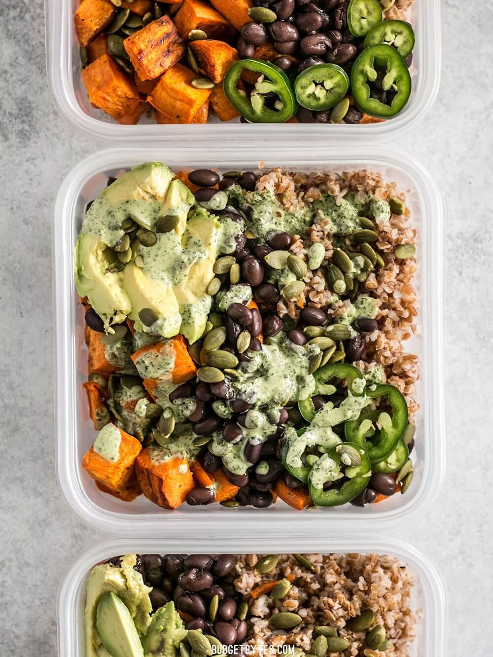 Sweet Potato Grain Bowls with Green Tahini Sauce
