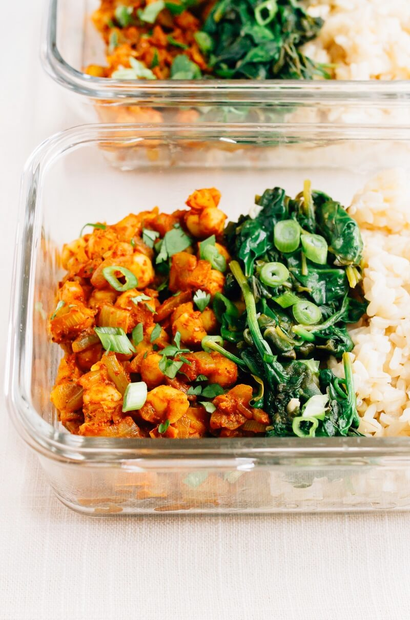 Curried Chickpea with Garlicky Spinach
