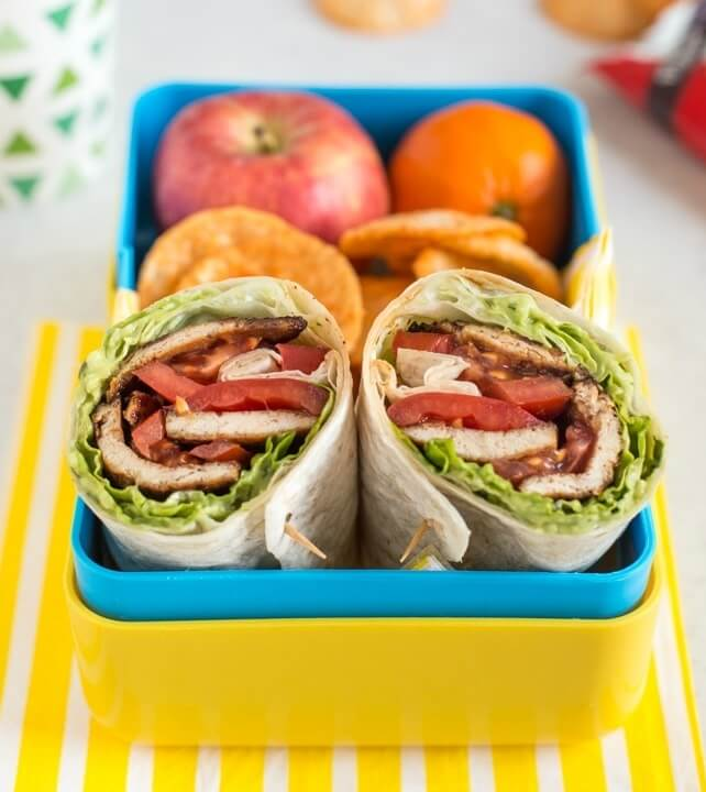 BBQ Tofu Bacon BLT Wraps