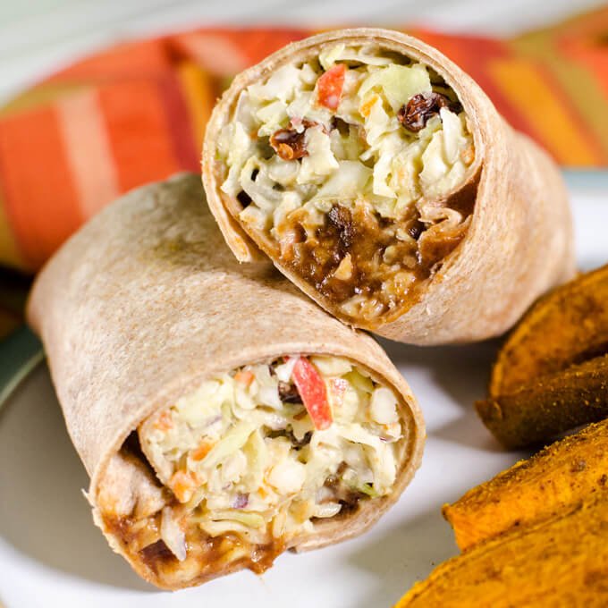 BBQ tempeh and slaw wrap